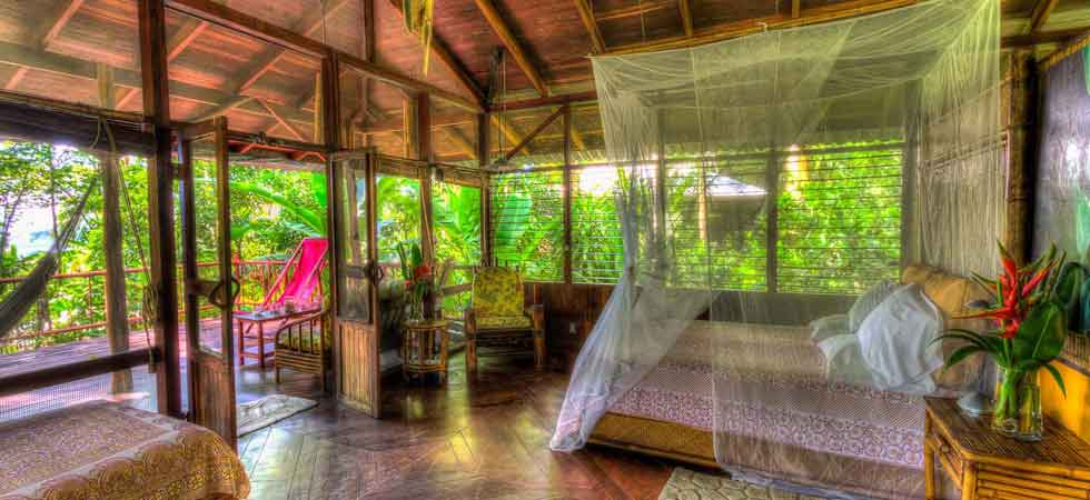 upstairs bedroom - luxury casita at Iguana Lodge