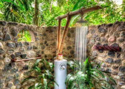 outdoor garden shower - luxury casita at Iguana Lodge