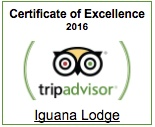 Trip Advisor Certificate of Excellence for Iguana Lodge 2016